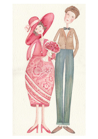 spouses: two lovers. watercolor illustration Stock Photo