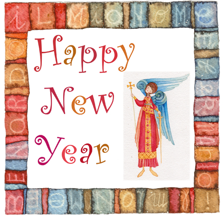 spouses: Happy new year angel watercolor illustration