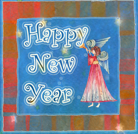 sweetness: Happy new year angel with trumpet