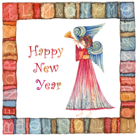 spouses: Happy new year angel with trumpet
