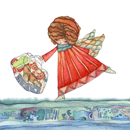 spouses: Angels with bag, watercolor illustration Stock Photo