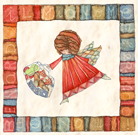 article icon: Angels with bag, watercolor illustration Stock Photo