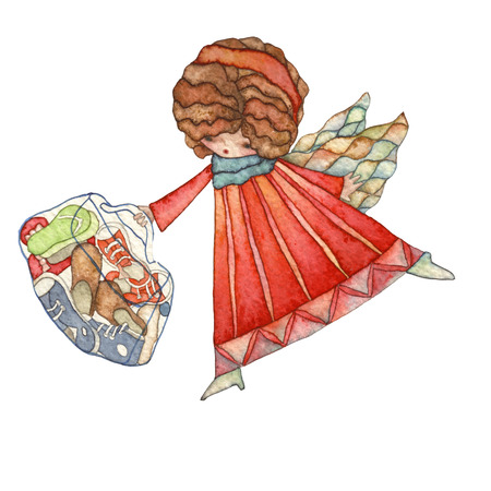 angels: Angels with bag, watercolor illustration Stock Photo