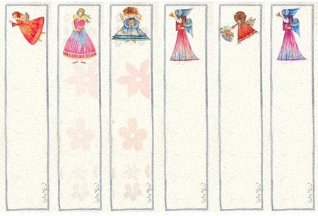 bookmarks:  Bookmarks whith Angels, Watercolor illustration Stock Photo