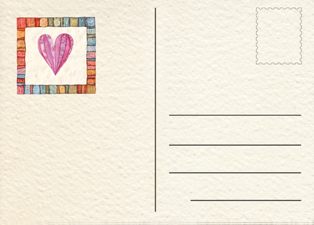 postcard back: Hand drawn back postcard Stock Photo