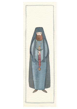 Hand drawn back postcard with archimandrite Banco de Imagens
