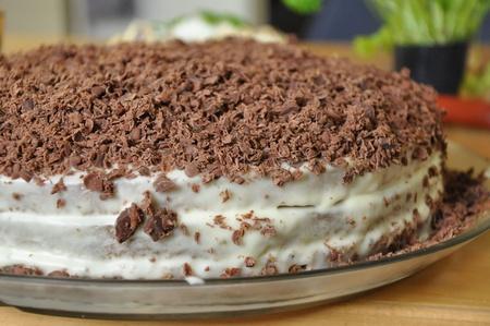Cream cake with chocolate shaves. Stock Photo - 10675595