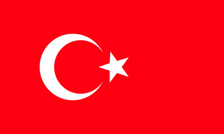 The national flag of Turkey. Rightly proportions and colors. Vector illustration