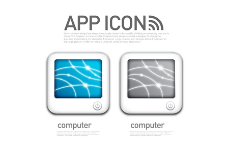 Shaped computer screen app icons Stock Vector - 20743834
