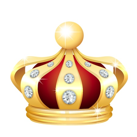 queen crown: Gold crown icon Illustration