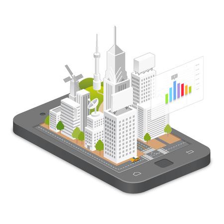electronic guide: smart phone illustration