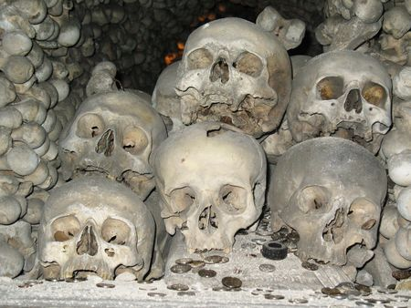 Humam skulls and bones in Kutna Hora church Czechia Stock Photo