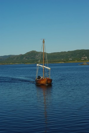 Replica of ancient viking boat on the sea Stock Photo - 7701187