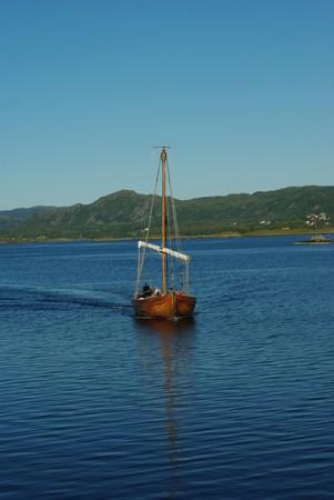 replica: Replica of ancient viking boat on the sea Stock Photo