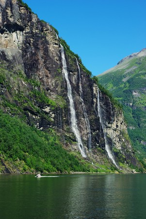 Mountain river with waterfalls in Norway, Geiranger photo
