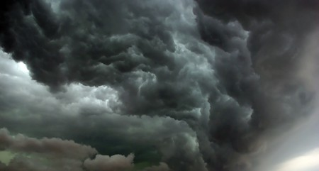 leaden: Heavy leaden thunderclouds before the hurricane Stock Photo