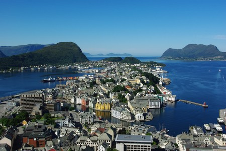Aerial view from the mountain Aksla at the Alesund, Norway photo