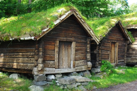 Ancient wooden huts photo