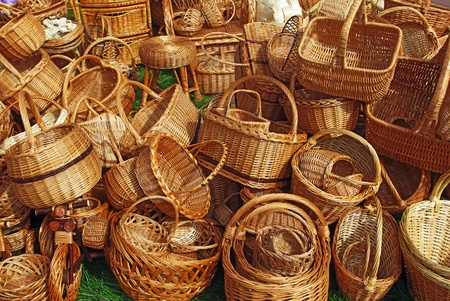 Various handmade baskets for sale at a souvenir market in Russia.