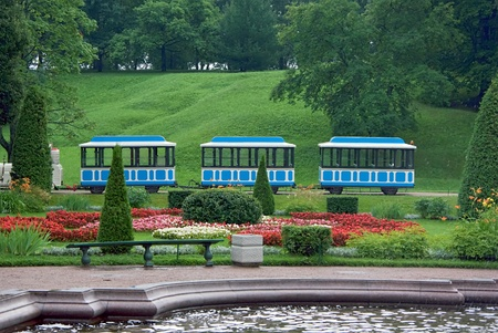 electric tram: Small train in the park for child play Stock Photo