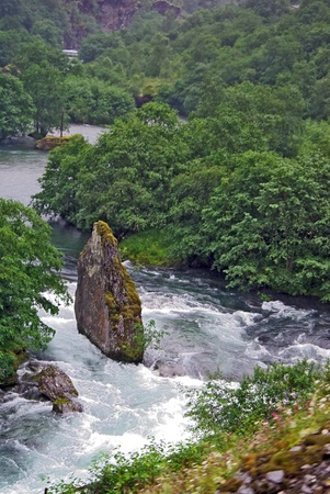 Mountain river in Norway, view from Flomsban railway photo