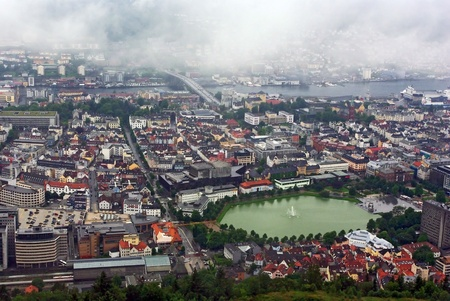 Aerial view of the sity Bergen from the Floyen mountain, Norway photo