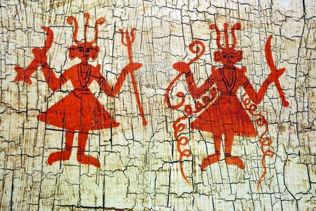 Dancing figures on an aged background  Ethnic indian art  photo