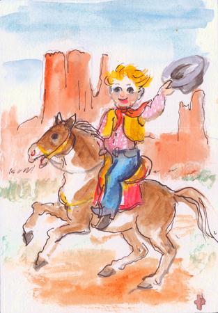 後ろに彼の手を振る prerie の帽子の彼の馬に子カウボーイ