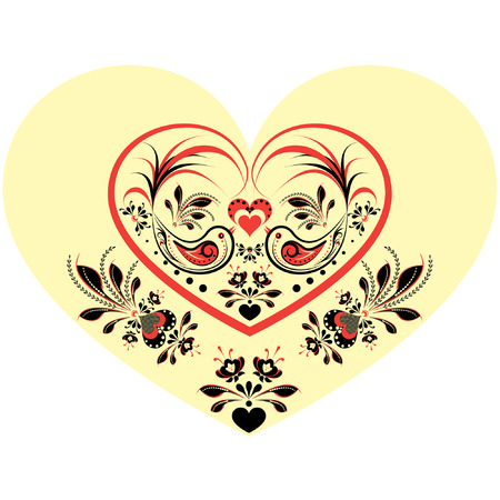 aves: Valentines day illustration  with hearts, birds and  flowers