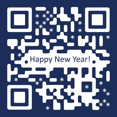 qr: New Year Card with QR  Code Illustration