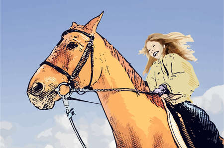Girl riding a horse on a sunny day