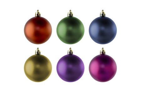 Set of colorful Christmas balls for decoration and design isolated on a white background