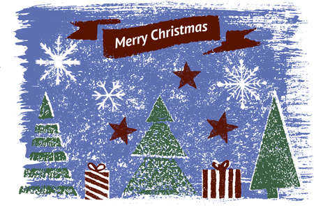 Collection of hand drawn graphic elements for winter holiday backgrounds, banners, creative works with snowflakes, stars, presents, Christmas trees. Creative Christmas Card with Seasonal Decoration