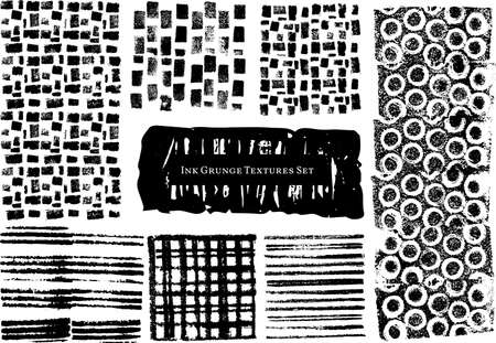 Set of vector scratch ink textures. Collection of hand drawn graphic element for grunge backgrounds, banners, creative works