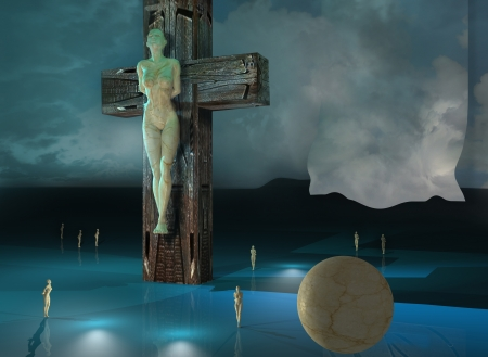 3dmax: Figure of Crucifixion made in 3dmax end hand painted in photoshop