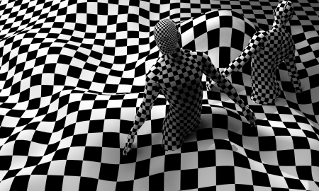 Checkered composition with Black end White checkered people made in 3d photo