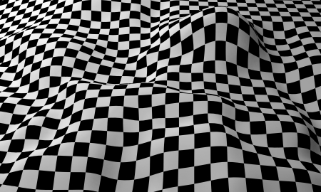 Four-tile repeat of a wavy seamless checkered pattern