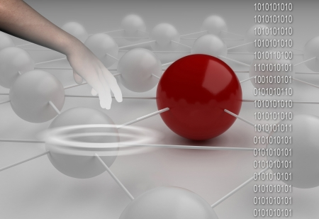Binary code against hand  with abstract background  of red end white ball made in 3d Stock Photo - 16380564