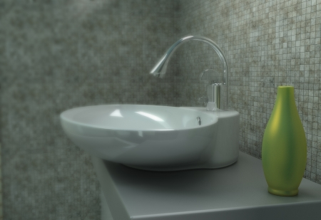 Close up of bathroom sink in a new house made in 3d  photo