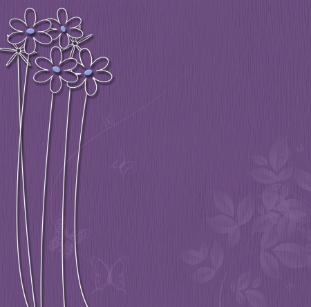 Purple background with white flowers and butterflies. Stock Photo - 16461906