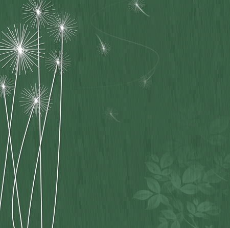 Dark Teal background with white silhouettes of dandelions and floating seeds. Stock Photo - 16461811