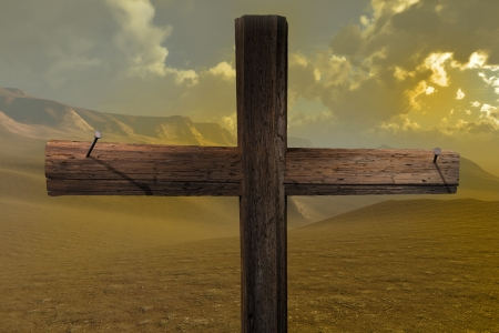 golgotha: The cross end two nails made in 3d software  Stock Photo