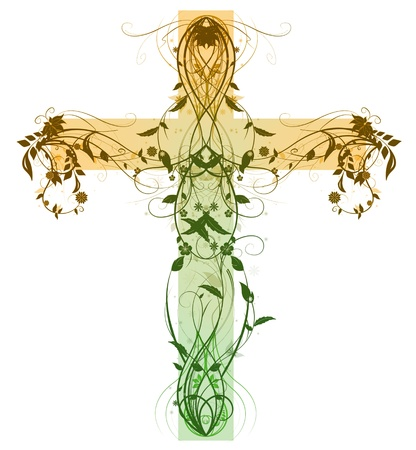 Green Floral Cross made with bevel and  emboss effect