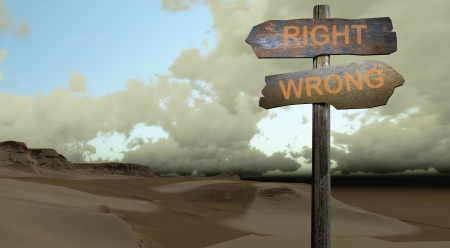 sign direction right - wrong