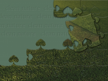 Green grass jigsaw puzzle  made in 3d software Stock Photo - 19493498