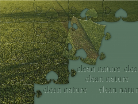 Green grass jigsaw puzzle made in 3d software Stock Photo - 19493503
