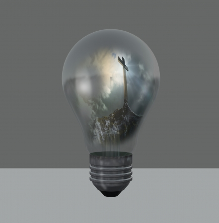 light bulb with cross  made in 3d software Stock Photo