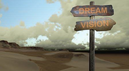 dream vision: sign direction DREAM - VISION made in 3d software  Stock Photo