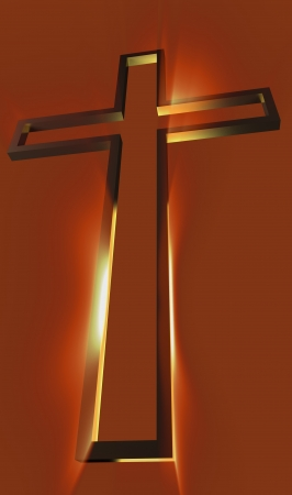 Wooden cross with rays behind on red  photo