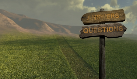 sign direction answers-questions made in 2d software Stock Photo